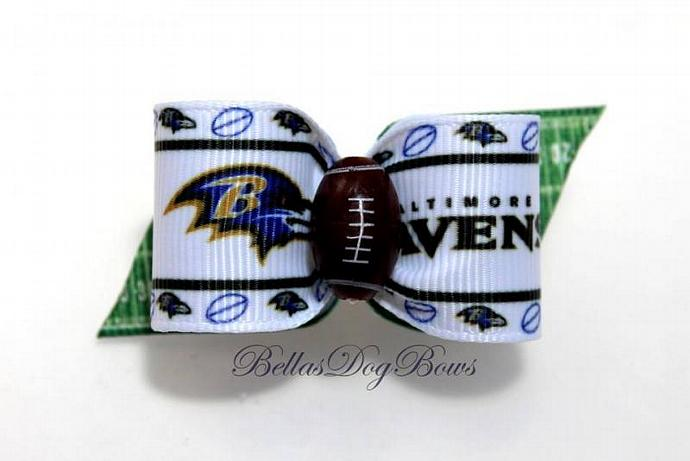 Football Inspired Dog Bow  - Large Loop Bow