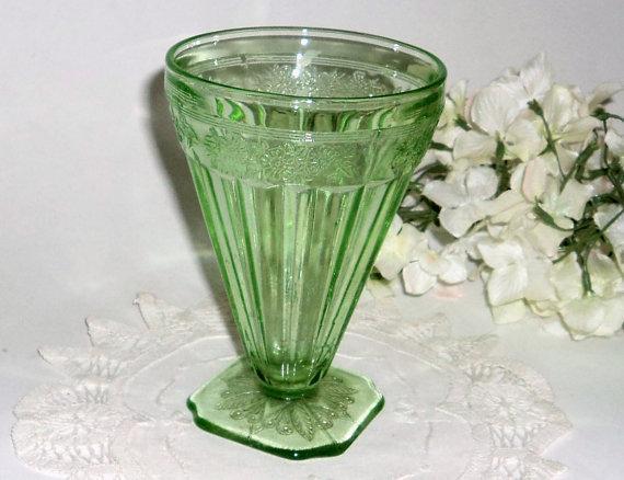 Depression Glass Green Depression Glass Adam Tumbler 1930's