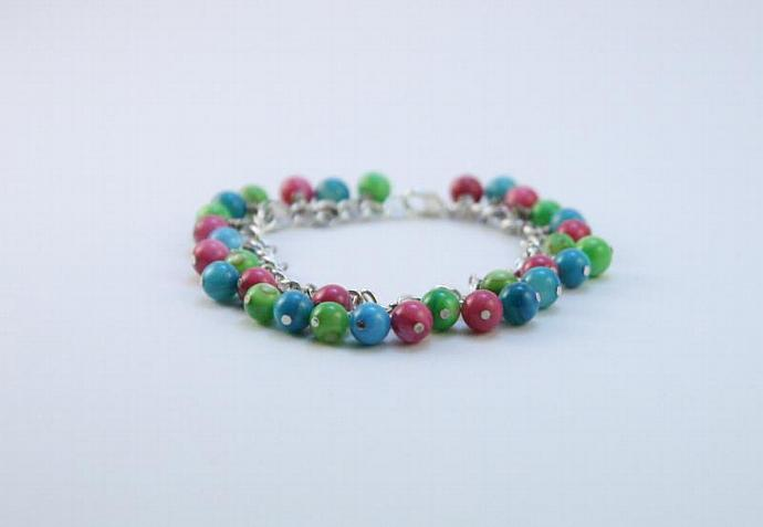 Rainbow Cluster Bracelet, Multicolor Bracelet, Colorful Beaded Bracelet, Beaded
