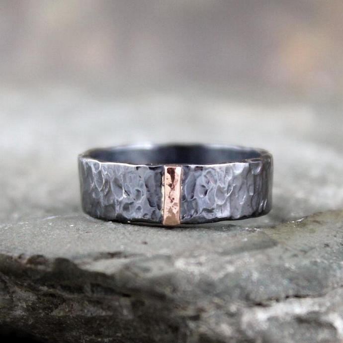 Wedding Band - Sterling Silver and 14K Rose Gold