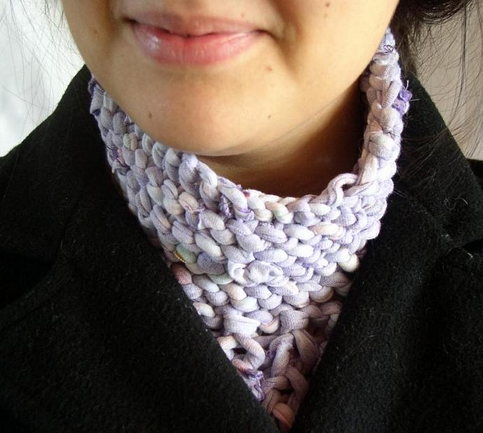 Purple Scarfino Knit from Recycled Cotton T-Shirt Yarn -- Tinkerbell