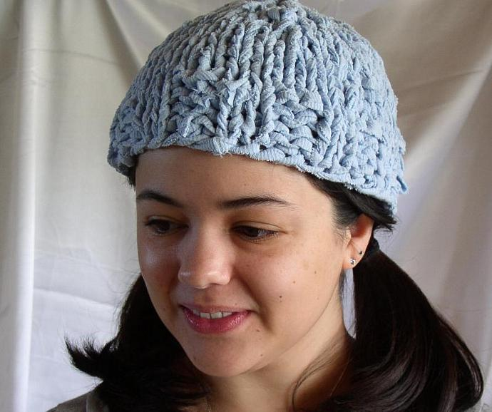 e0172f0a83c Blue Beanie Hat Knit from Recycled Cotton by OrganicPlanet on Zibbet