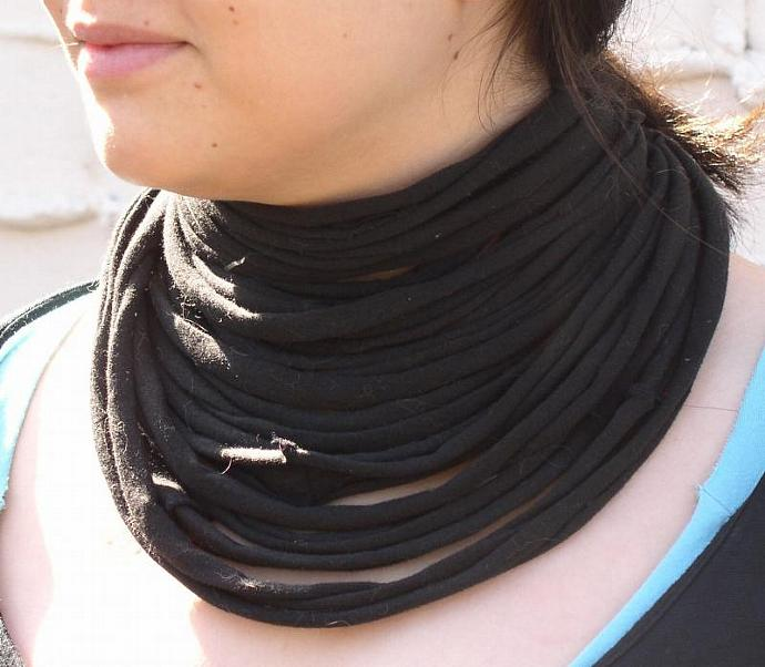 Black Layered Chunky Necklace From Recycled T-Shirt Yarn -- Black Licorice