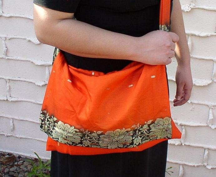 Orange Messenger Bag From Recycled Fabric  ---  Mandarin Dreams