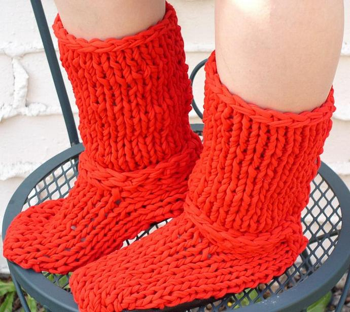 Red Boots Knit From Recycled T-Shirt Yarn -- Flame Tip