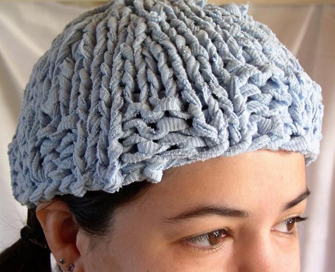 cd415d44859 ... Blue Beanie Hat Knit from Recycled Cotton T-Shirt Yarn -- Blue Skies ...