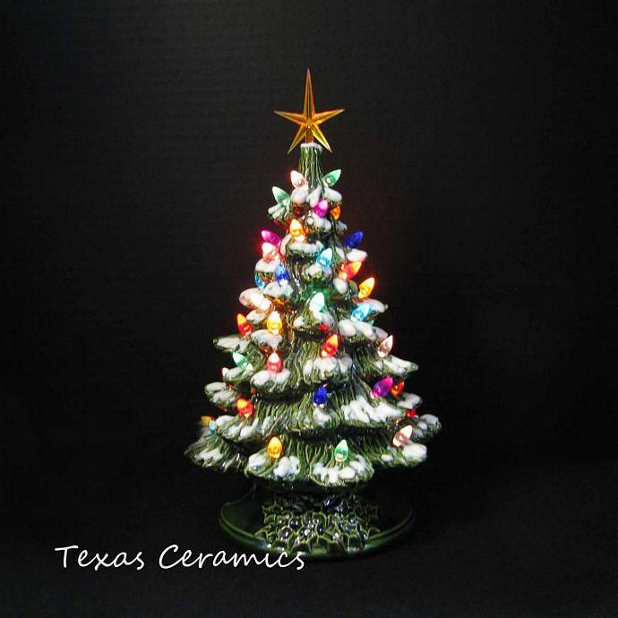 winter snow ceramic christmas tree 12 inch tabletop tree with color lights