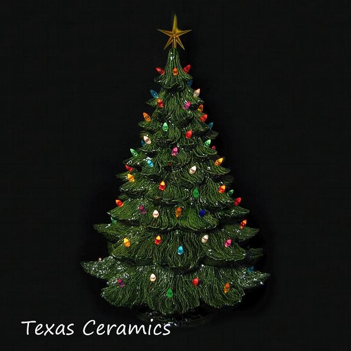 lighted green ceramic christmas tree 24 inches tall with color lights and - Green Ceramic Christmas Tree With Lights