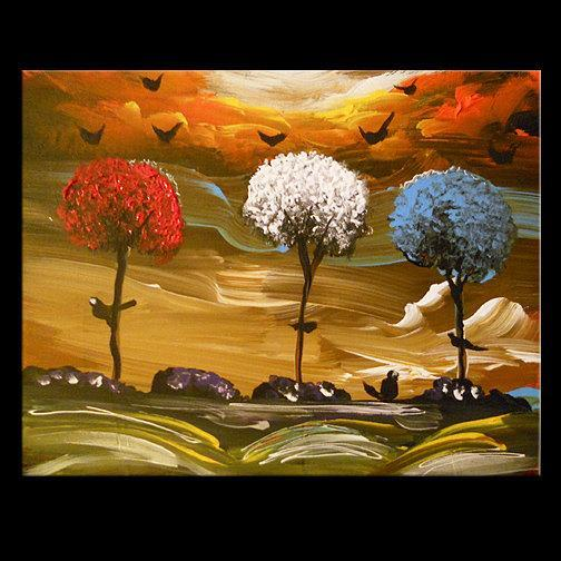 art abstract painting housewares wall decor lollipop tree original painting 11 x