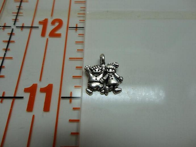 Boy and Girl Charm - Silver