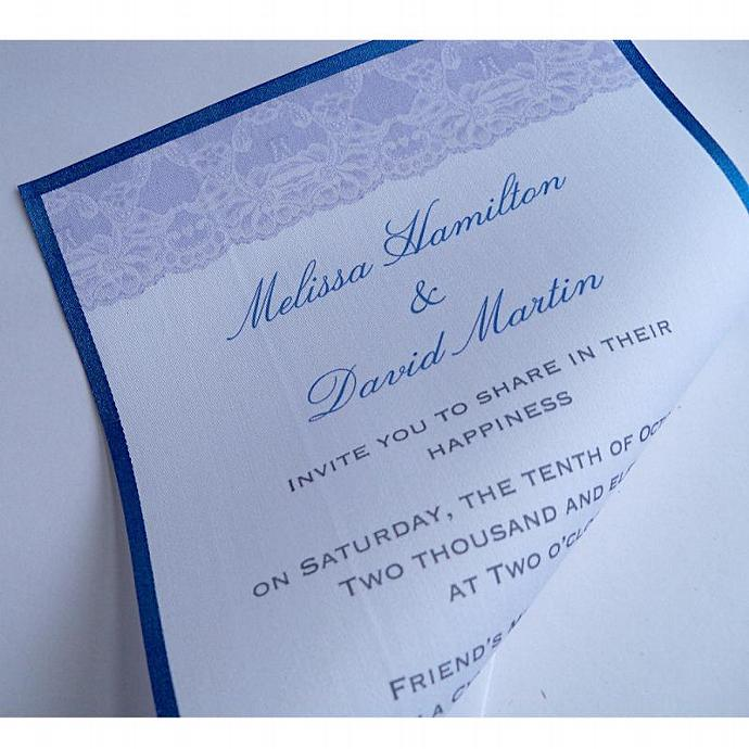 Vintage lace wedding invitations on cotton fabric - set of 25