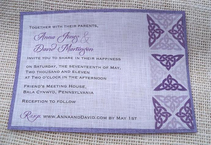 Celtic knots wedding invitations on linen fabric - 25