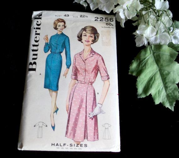 Butterick Dress Pattern Woman's Short Sleeve Sewing Patterns Vintage 1960s Uncut