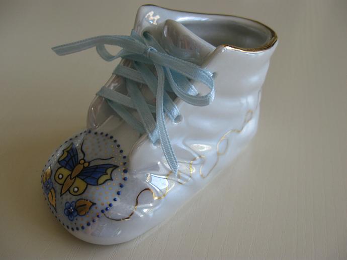 Porcelain Baby Bootie - Blue