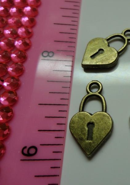 Heart Lock Charm - Bronze