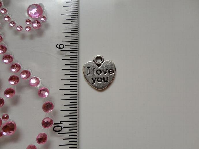 I love you Heart Charm - Silver