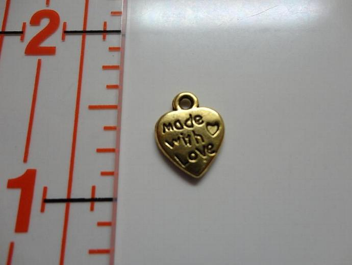 Made with Love Heart Charm - Gold color