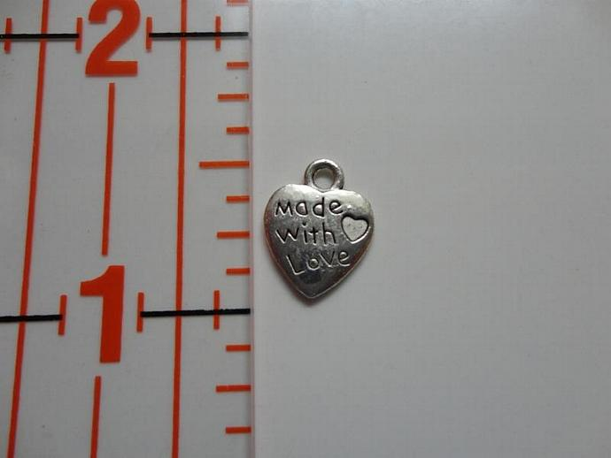 Made with Love Heart Charm - Silver