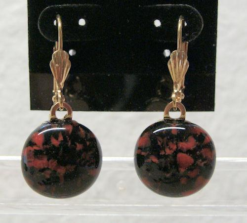 Red n Black Round Fused Glass Gold Leverback Earrings