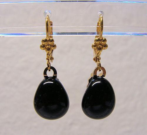 Black Teardrop Fused Glass Gold Plated Leverback Earrings