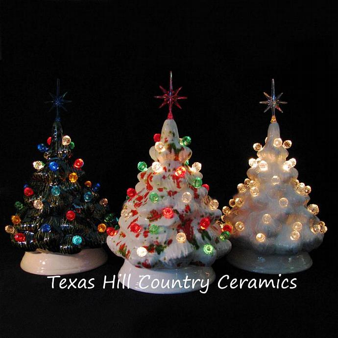 ceramic christmas trees set of 3 miniature size tabletop lighted trees