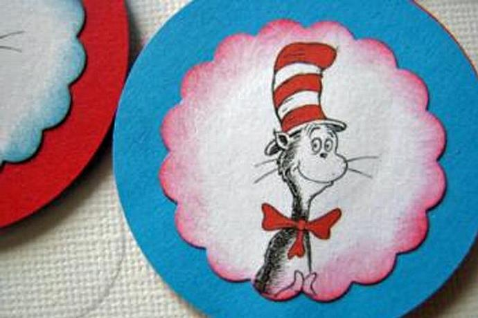 A Bulk Set of 12 Dr Seuss Cupcake Toppers- Includes pictures of Dr Seuss Cat in