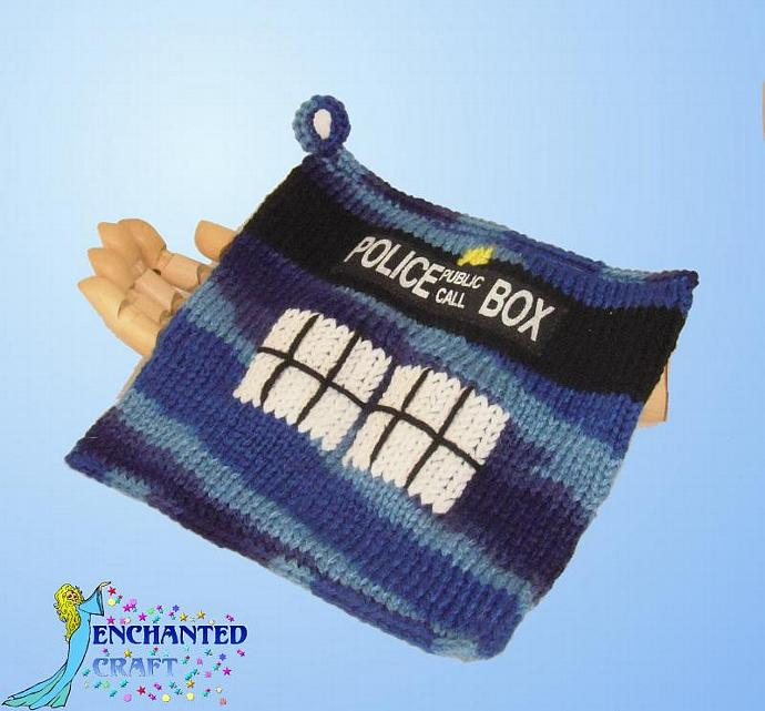 Multi colored blue Dr. Who TARDIS pot holder, hot pad, cozy- knitted
