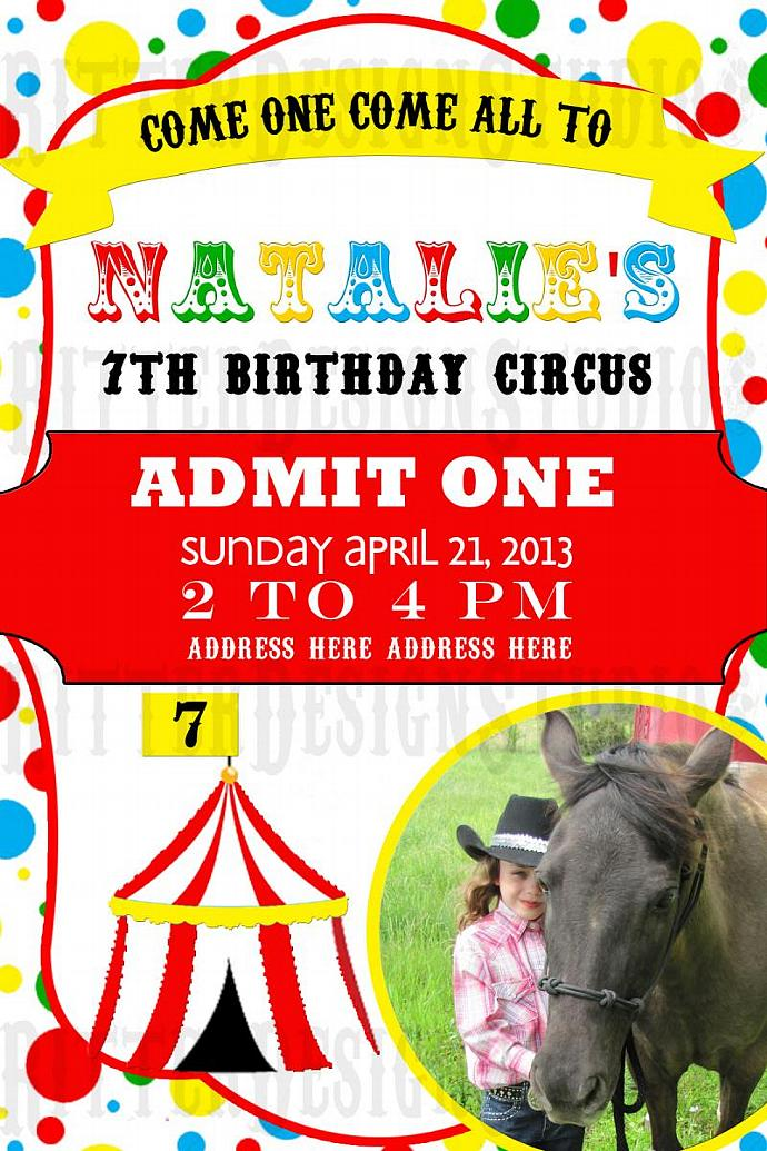 Circus Themed Birthday Invitation - Digital File