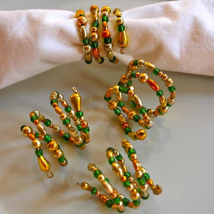Green and Gold Beaded Napkin Rings (Set of 4)