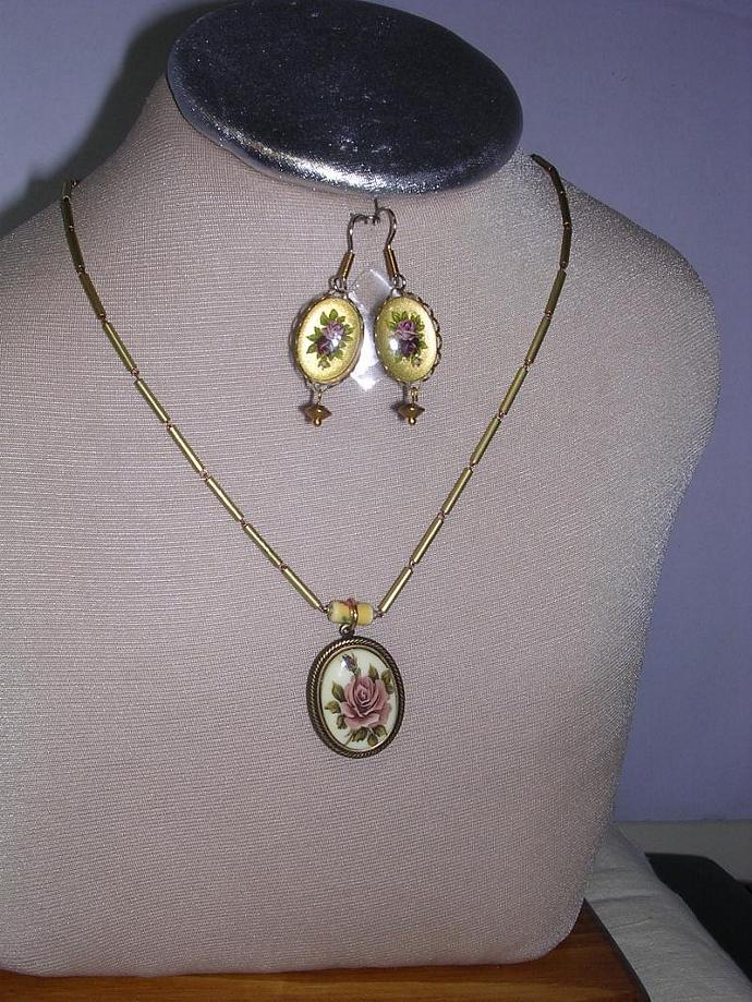 SOLD Roses, Rose Flower,  Ceramic Pendant, Brass Bead Necklace, Women Fashion,