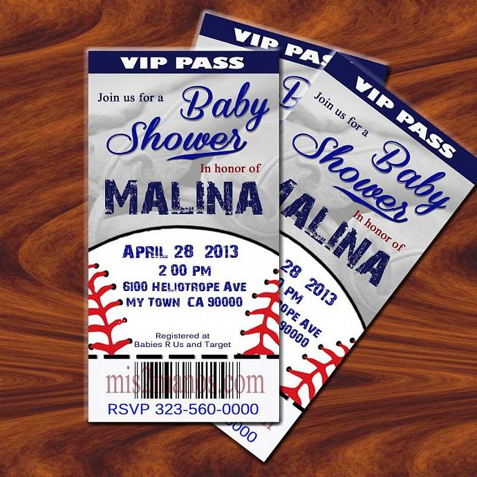 BASEBALL BABY Shower Invitation Printable Ticket DIY Birthday Cards Print At