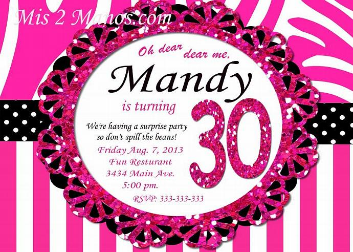 30th Birthday 40th Surprise Party Hot Pink Zebra Print 50th Ladies Invitations -