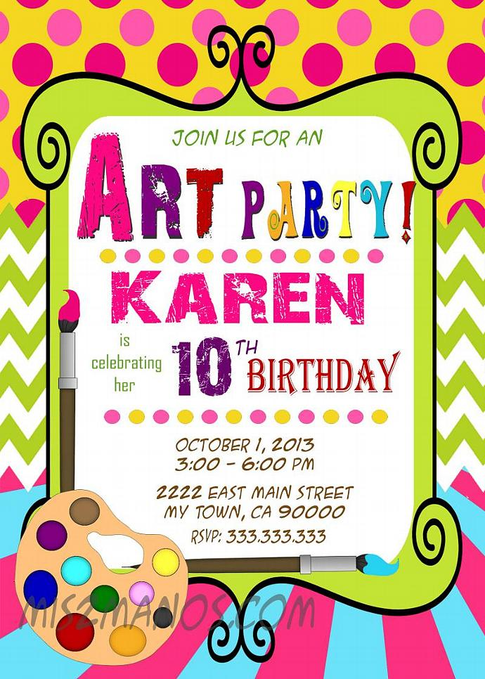 art party invitation art birthday paint by mis2manos on zibbet