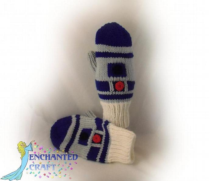 Hand Knitted R2-D2 MITTENS for the fan of Star Wars