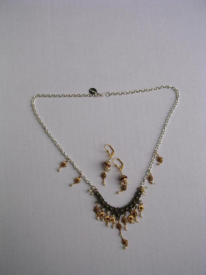 SOLD- Ruby Charms- Victorian Style Multi Color Metal Necklace