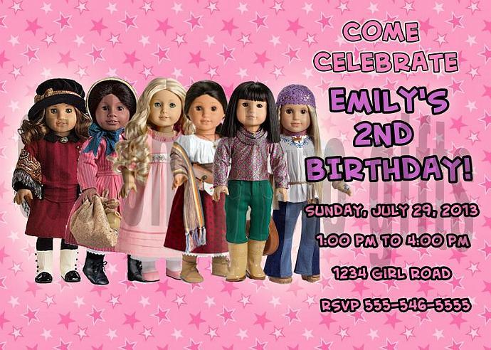American Girl Personalized Custom Birthday Invitation Digital File, You Print