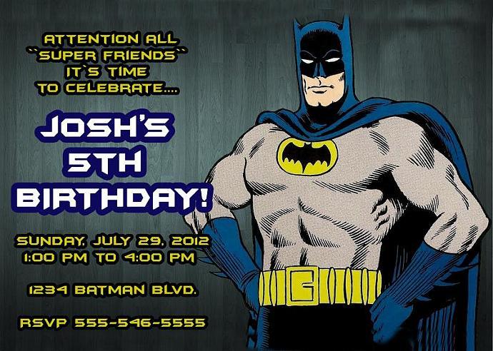 Batman Personalized Custom Birthday Invitation Digital File You Print