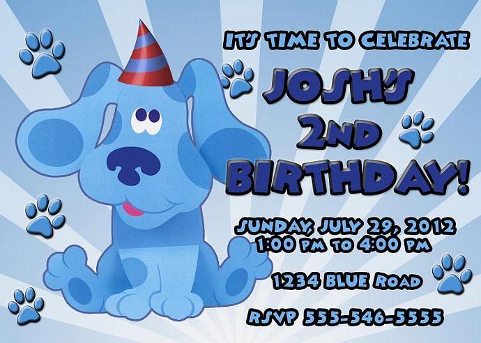 Blues Clues Personalized Custom Birthday Invitation Digital File, You Print