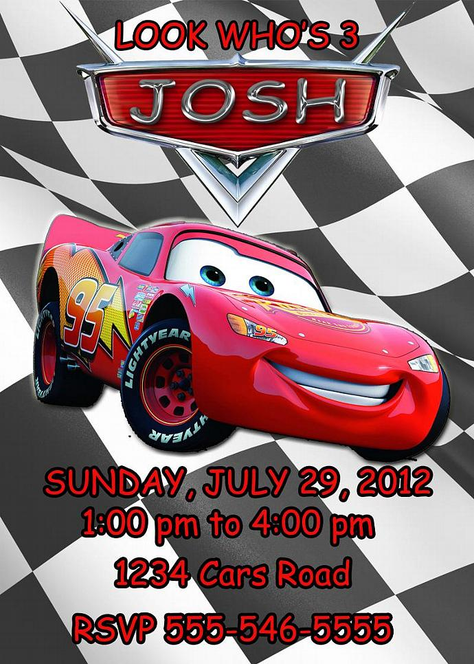 Cars Lightning McQueen Personalized Custom Birthday Invitation Digital File You
