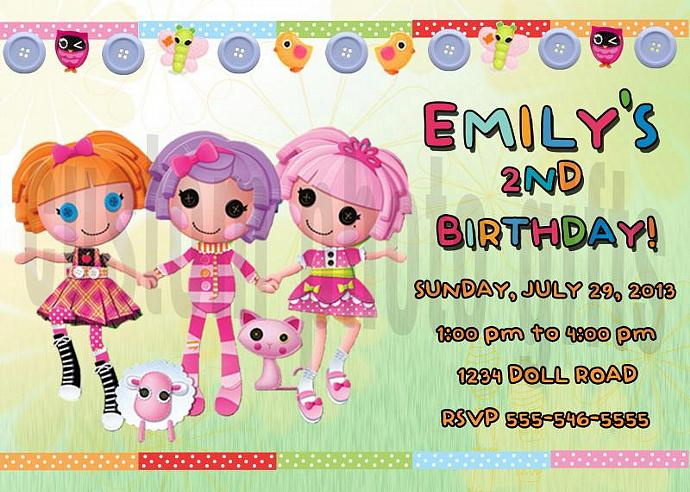 Lalaloopsy Personalized Custom Birthday Invitation Digital File, You Print