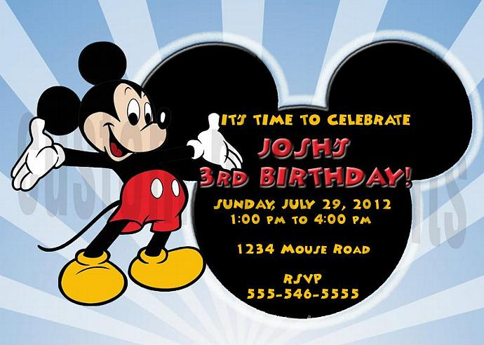 Mickey Mouse Personalized Custom Birthday Invitation Digital File, You Print