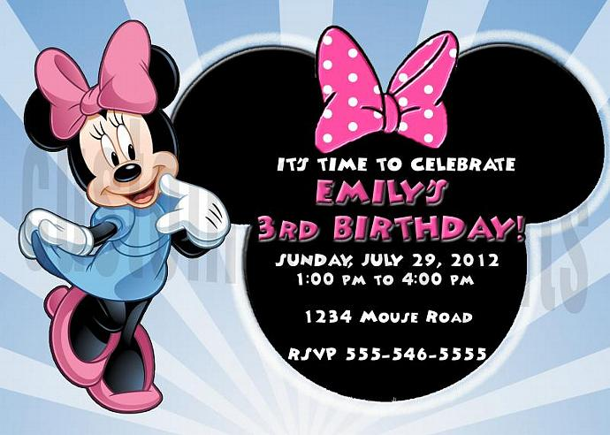 Minnie Mouse Personalized Custom Birthday Invitation Digital File, You Print