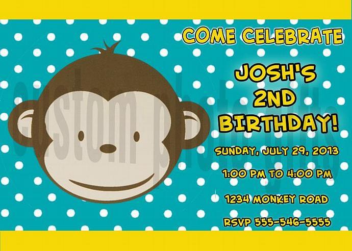 Mod Monkey Boy Personalized Custom Birthday Invitation Digital File, You Print