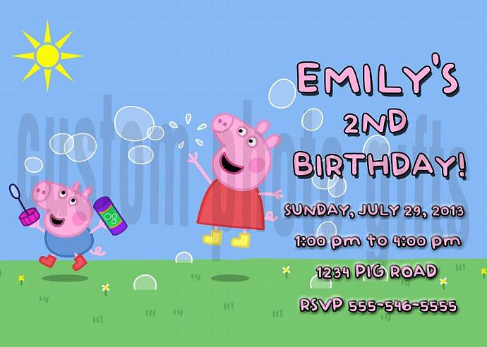 Peppa Pig Personalized Custom Birthday Invitation Digital File You Print