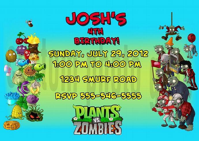 Plants vs Zombies Personalized Custom Birthday Invitation Digital File, You