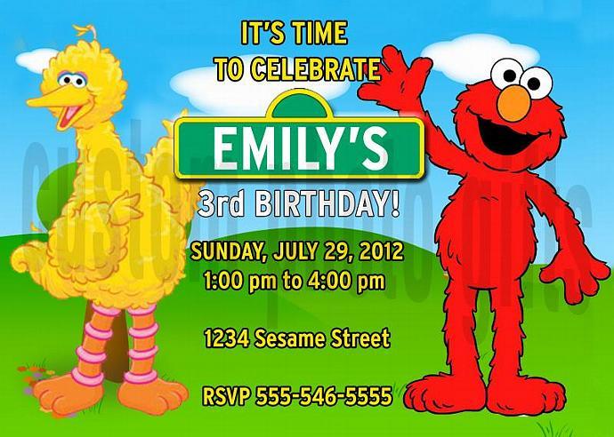 Sesame Street Big Bird and Elmo Personalized Custom Birthday Invitation Digital