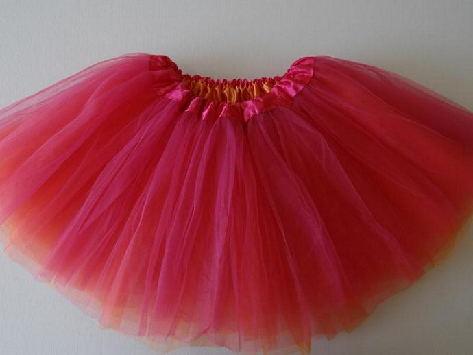REVERSIBLE Tutu Hot Pink / Orange Soft Tulle ... Children Toddler Costume