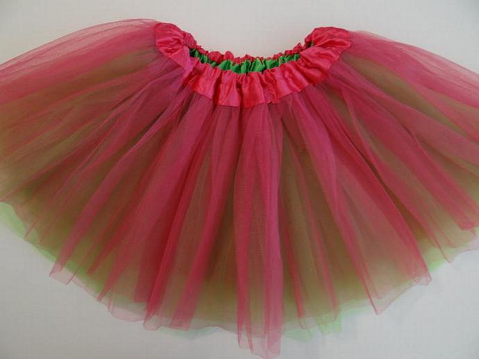 REVERSIBLE Tutu Hot Pink / Lime Soft Tulle ... Children Toddler Costume