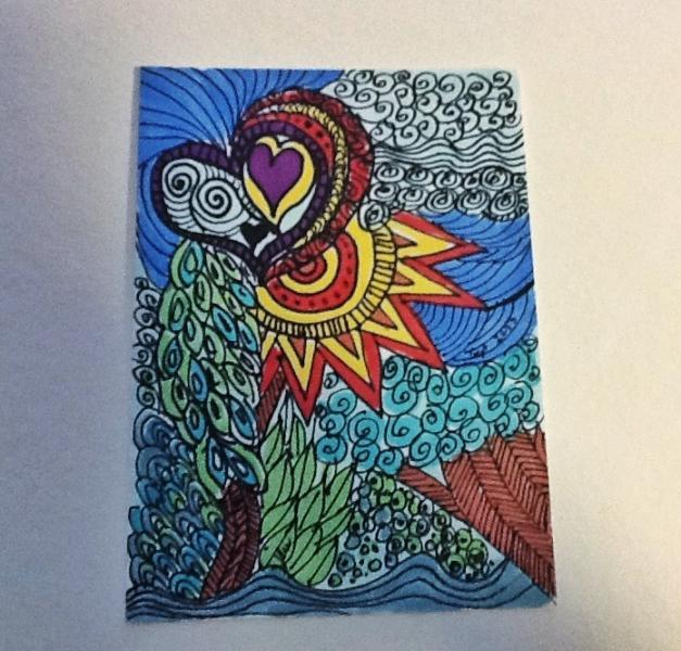 Original ACEO marker drawing zentangle bright colors ATC