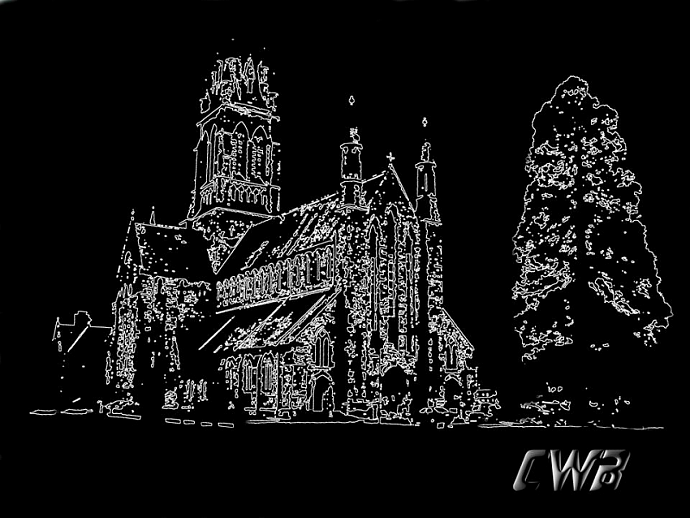 Killarney Church  fine art print in black & white